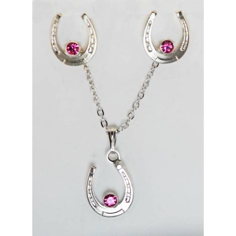 Western Edge Jewelry Set, Horseshoe Light Pink Crystal Stones