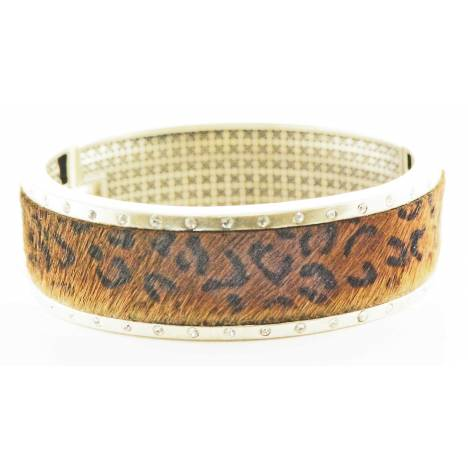 Western Edge Large Cuff Leather Crystal Bracelet
