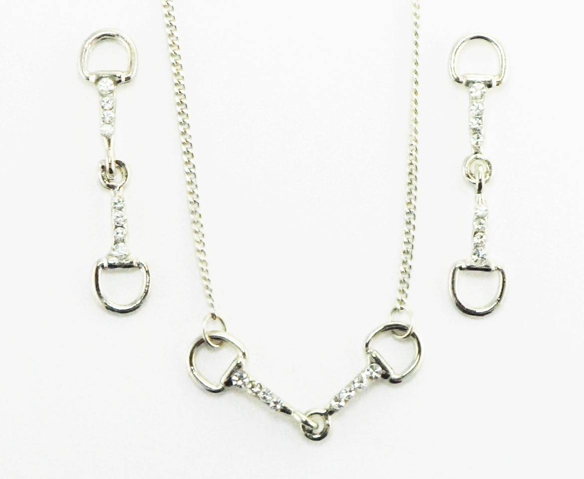 Western Edge Snaffle Bit with Crystal Stones Earrings And Necklace Set