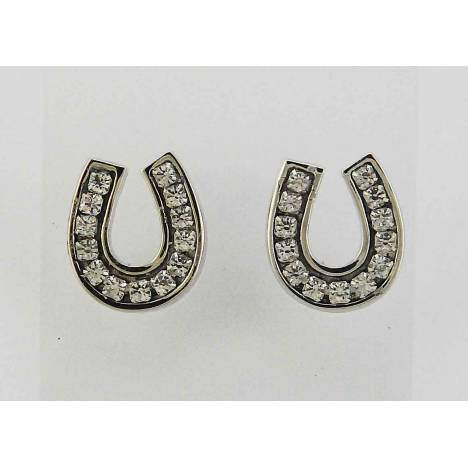 Western Edge Swarovski Crystal Channel Set Horseshoe Earrings