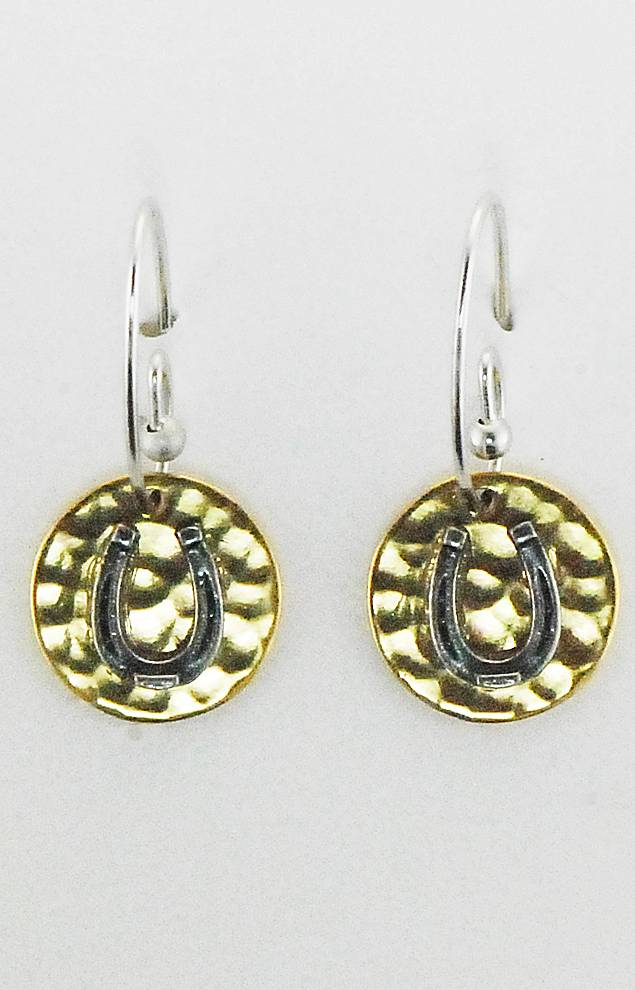 Finishing Touch Horse Shoe On Hammered Disc French Wire Earrings