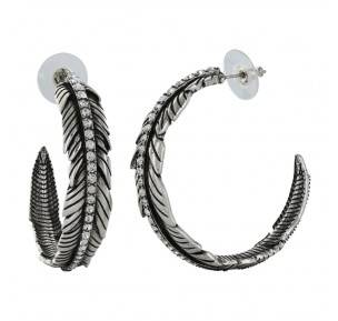 Montana Silversmiths Rock 47 Tattoo Art Rhinestone Feather Hoop Earrings