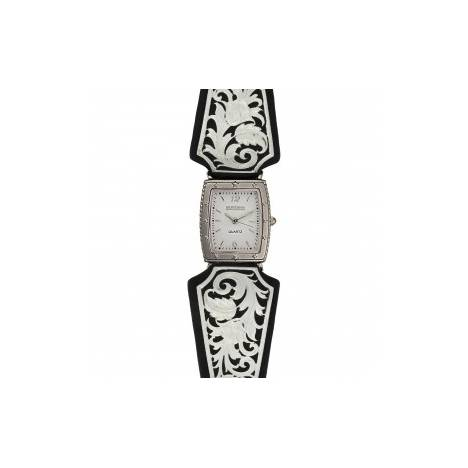 Montana Silversmiths Leather Cut Floral Scroll Dress Watch