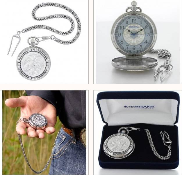 Montana Silversmiths New Traditions Four Directions Pocket Watch