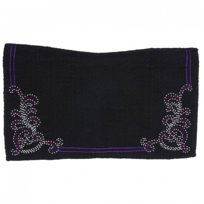 Tough 1 Crystal Floral Contour Wool Saddle Blanket