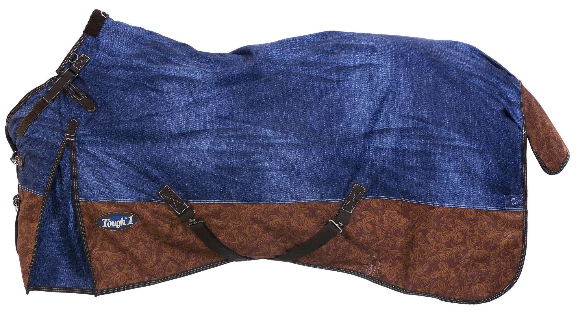 Outlet - Tough 1 1200D Waterproof Poly Snuggit Turnout Blanket- 250g fill, 72, Denim/Brown Tooled Leather