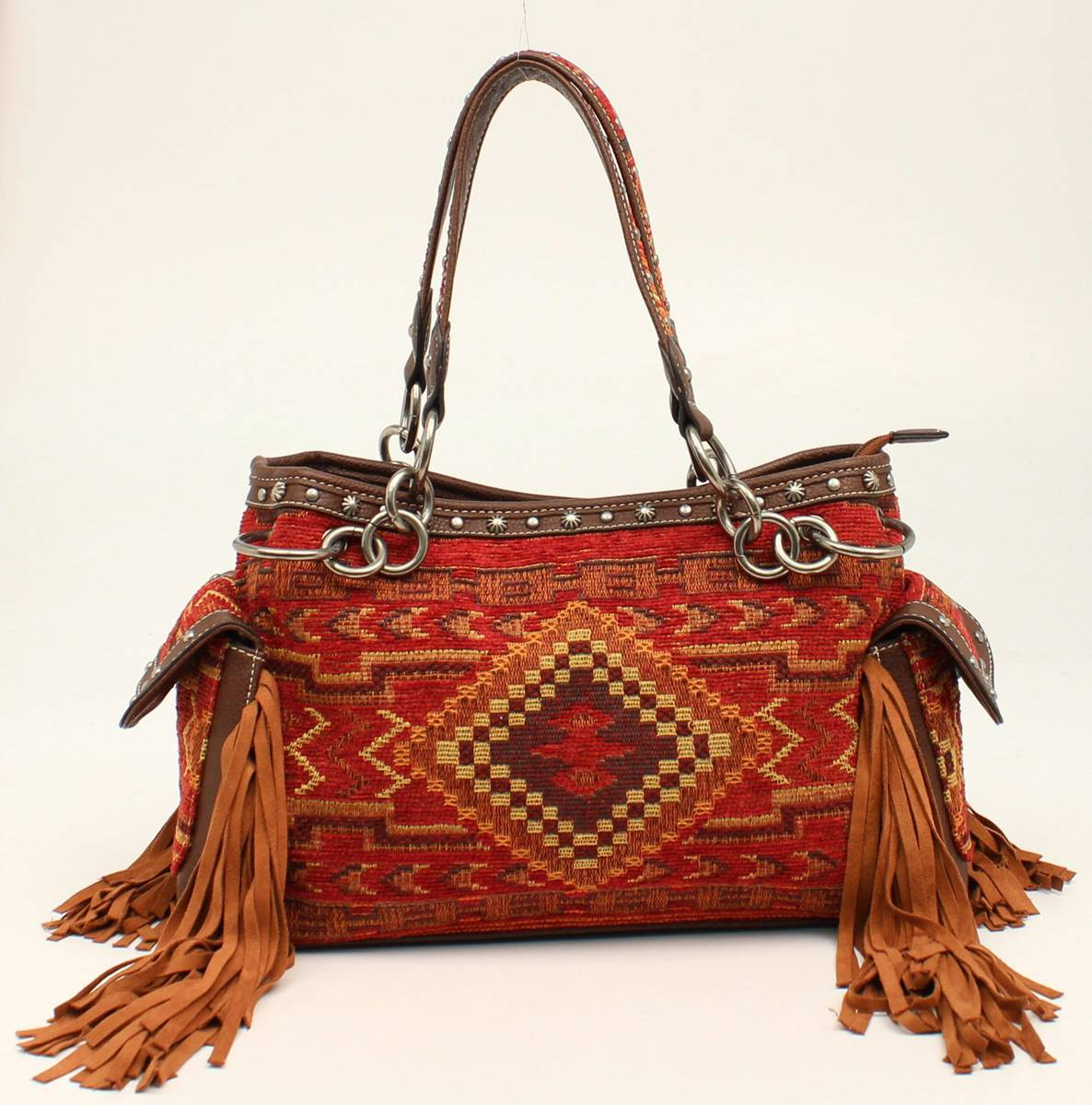 Nocona Sierra Indian Blanket Fringe Satchel