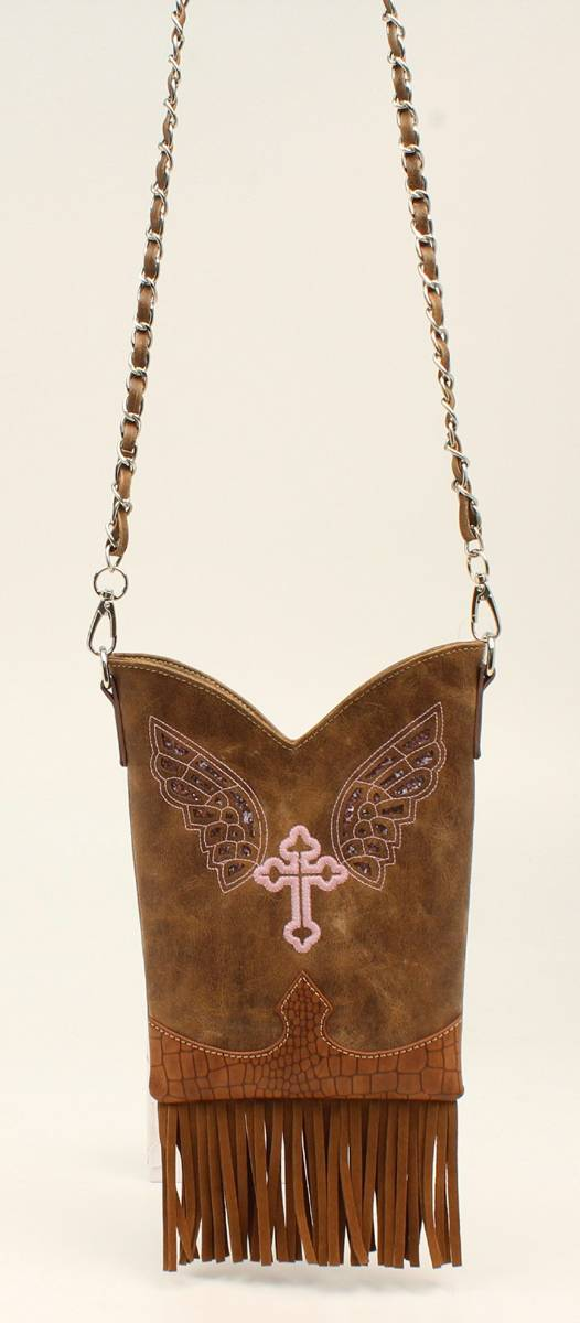Nocona Bmb Cross And Wings Fringe Crossbody