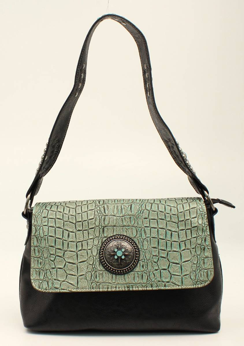 Nocona Desiree Croc And Concho Bling Shoulder Bag