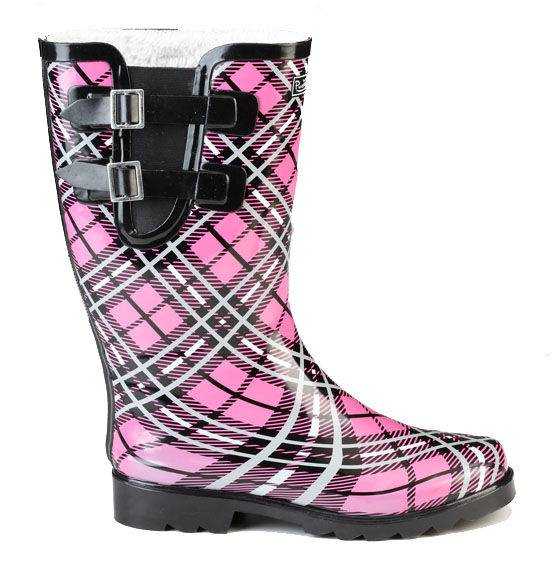 Muck Boots Cozy Classic Double Strap Puddleton - Ladies - Pink Plaid