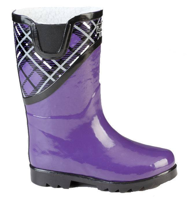 Muck Boots Cozy Classic Puddleton - Kids - Purple Plaid