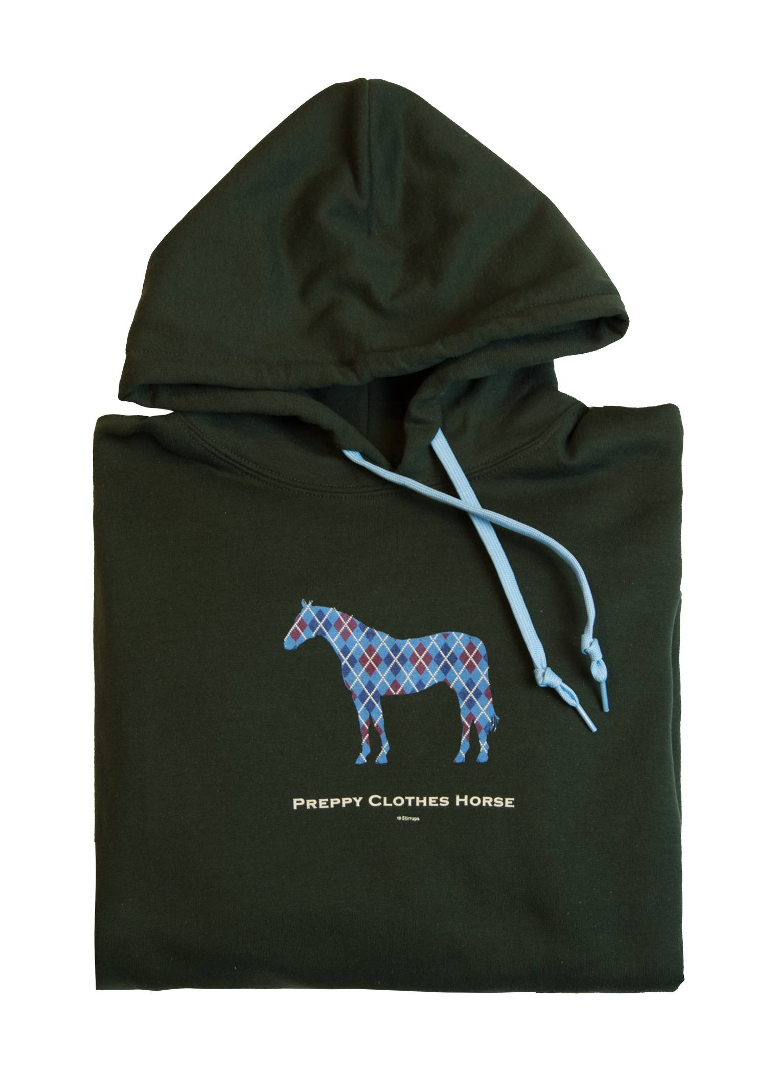 Stirrups Argyle Horse Hooded Sweatshirt - Ladies