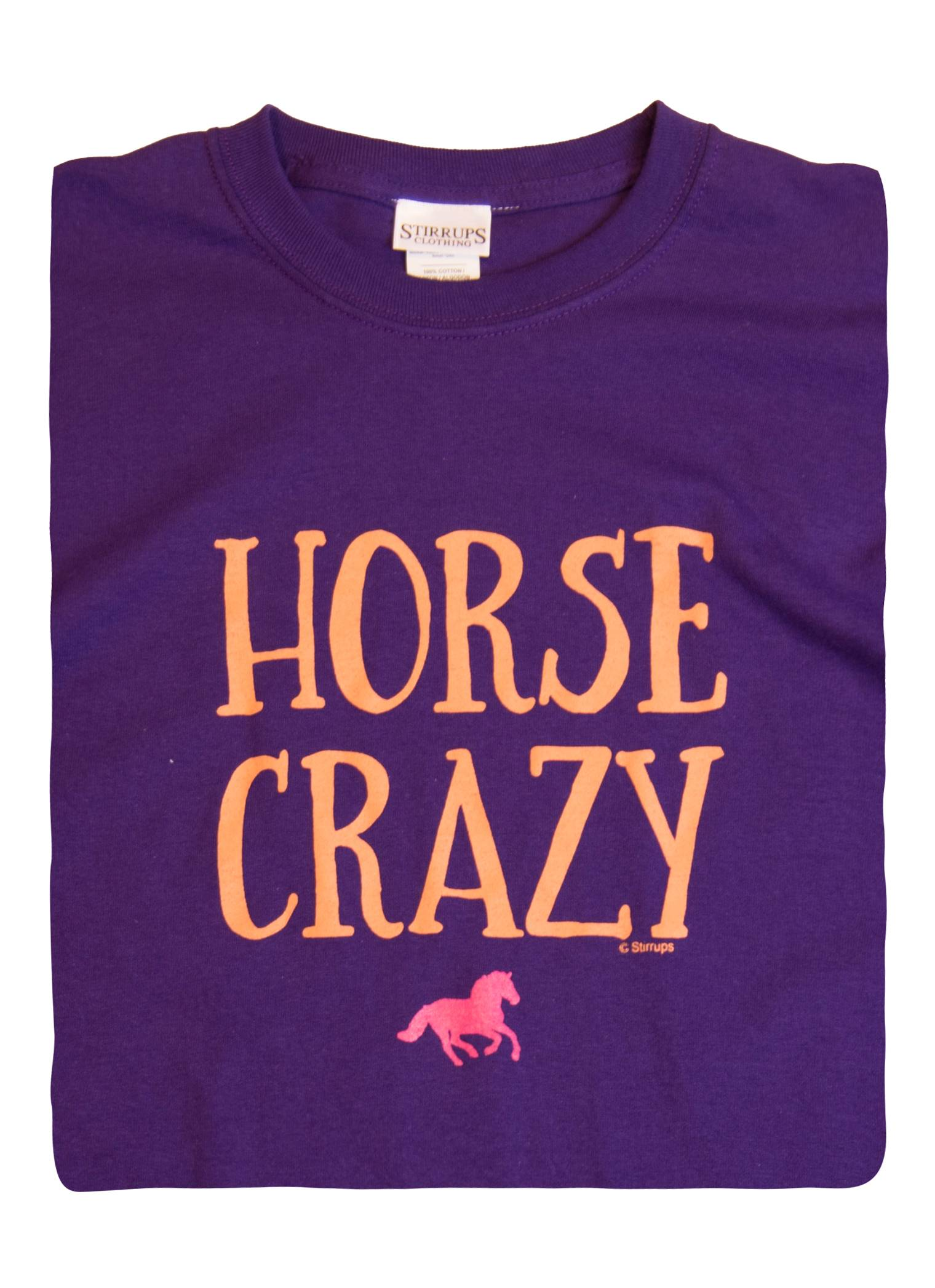 Stirrups Horse Crazy Cotton Long Sleeve Crewneck Tee - Ladies