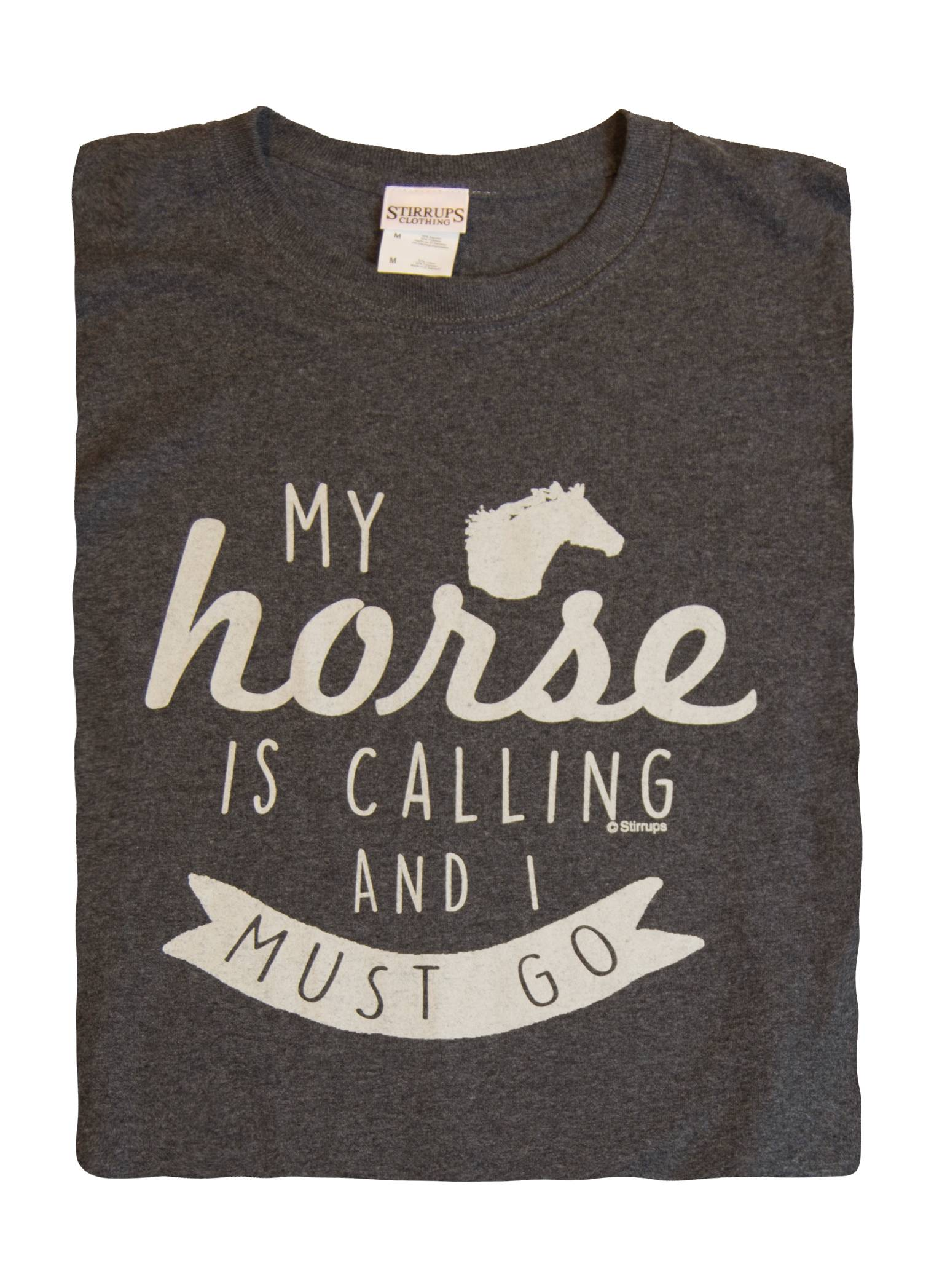 Stirrups My Horse Is Calling Cotton Long Sleeve Crewneck Tee - Ladies
