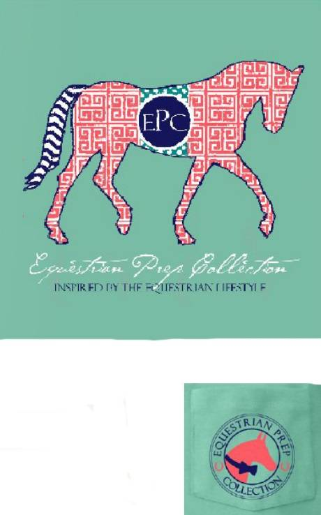 Stirrups Preppy Pattern Horse Short Sleeve Pocket Tee - Ladies