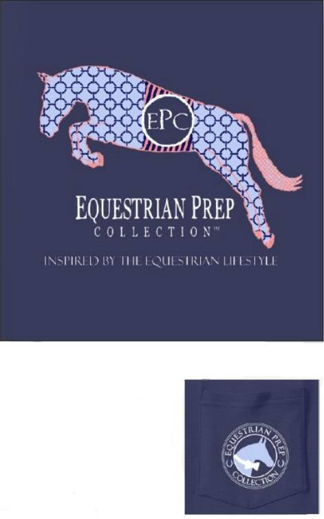 Stirrups Preppy Jumping Horses Long Sleeve Pocket Tee - Ladies