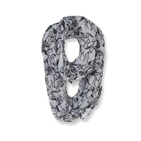 Linear Horses Voile Infinity Scarf - Ladies