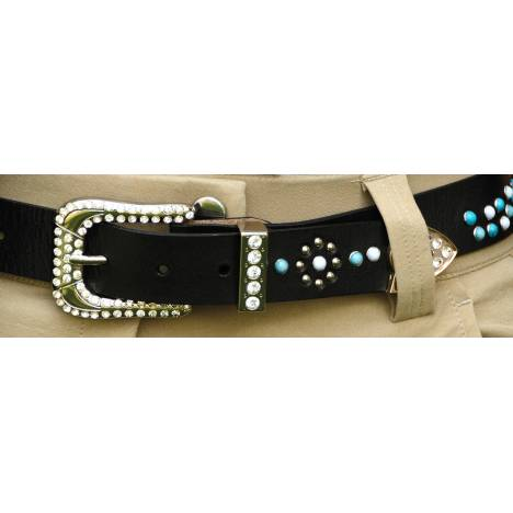2KGrey Leather Belt with Turquoise Stones and Crystals - Ladies