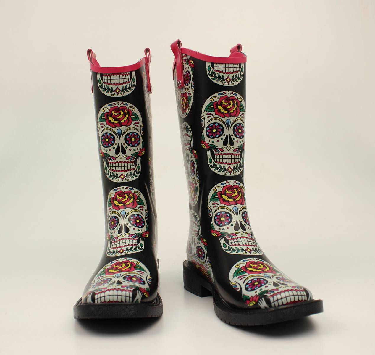 Blazin Roxx Gwen Rose Skull Square Toe Rain Boots- Ladies