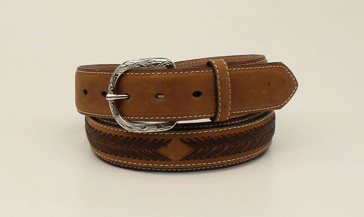 Nocona Top Hand Oval Concho Lacing Overlay Belt - Mens