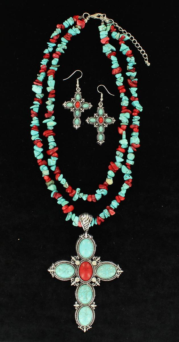 Blazin Roxx Two Strand Cross Pendant Necklace And Earring Set