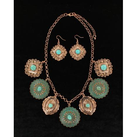 Blazin Roxx Western Concho Disc Necklace And Earrings Set