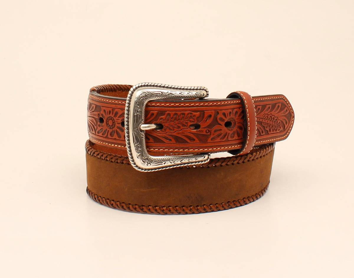 Nocona Lace Edge Tooled Tab Leather Strap Belt - Mens