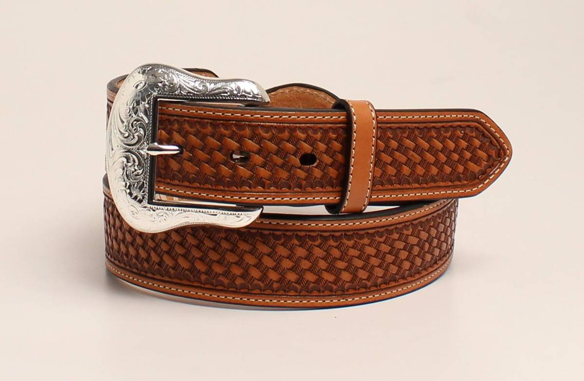 Nocona Silver Bar And Concho Leather Strap Belt - Mens