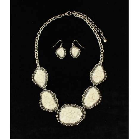Blazin Roxx Cluster Stone Earrings And Necklace Set