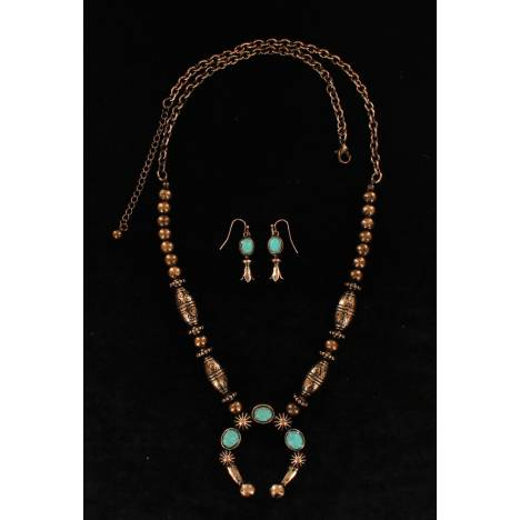 Blazin Roxx Burnished Embossed Stone Squash Blossom Necklace And Earring Set