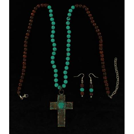 Blazin Roxx Beaded Cross Necklace And Earrings Set