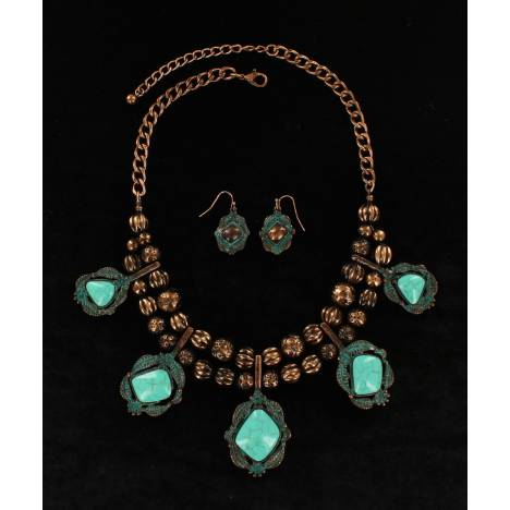 Blazin Roxx Beaded Ball Chain With Hanging Stones Necklace And Earrings Set