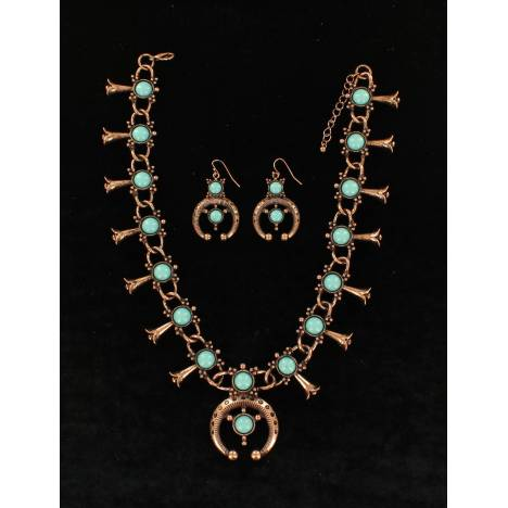Blazin Roxx Round Stone Squash Blossom Necklace And Earrings Set