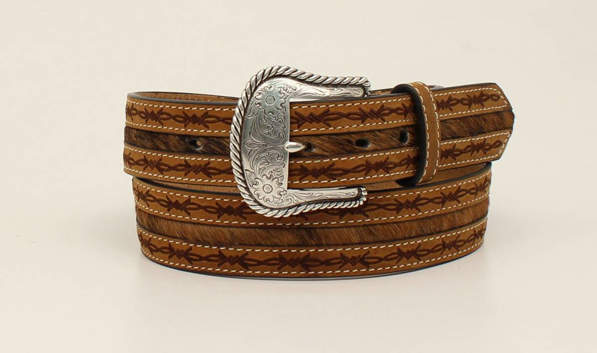 Nocona Mens Barbwire Edge Hair On Belt And Buckle