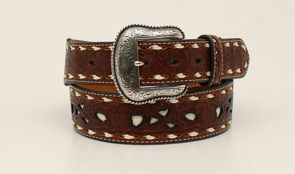 Nocona Mens Pierced Embossed Laced Edge Belt