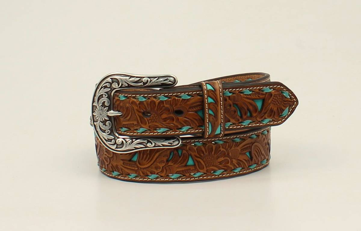 Nocona Ladies Underlay Floral Pierced Lace Edge Belt