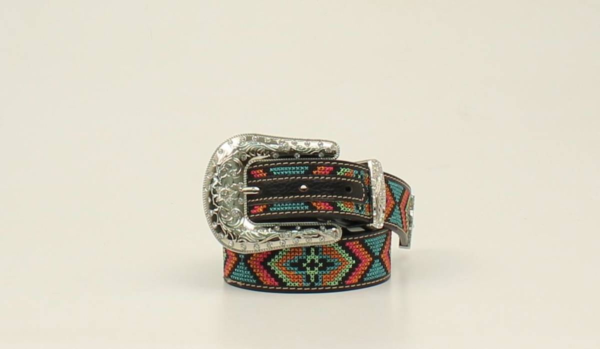 Nocona Kids Stitch Design Western Belt And Buckle