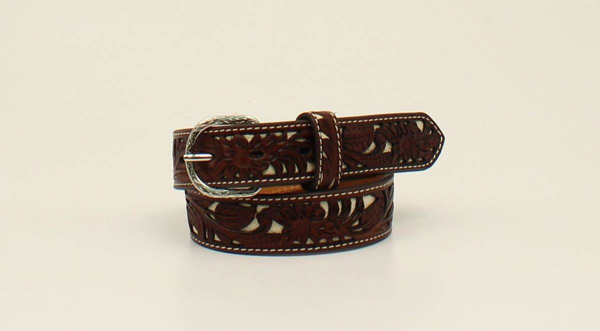 Nocona Kids Floral Pierced Leather Belt