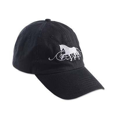 Dressage Horse with Scroll in Background Black Cap