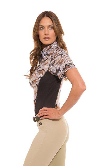 Kerrits Breeze Ice Fil Print Short Sleeve Shirt - Ladies - Field OF Horses