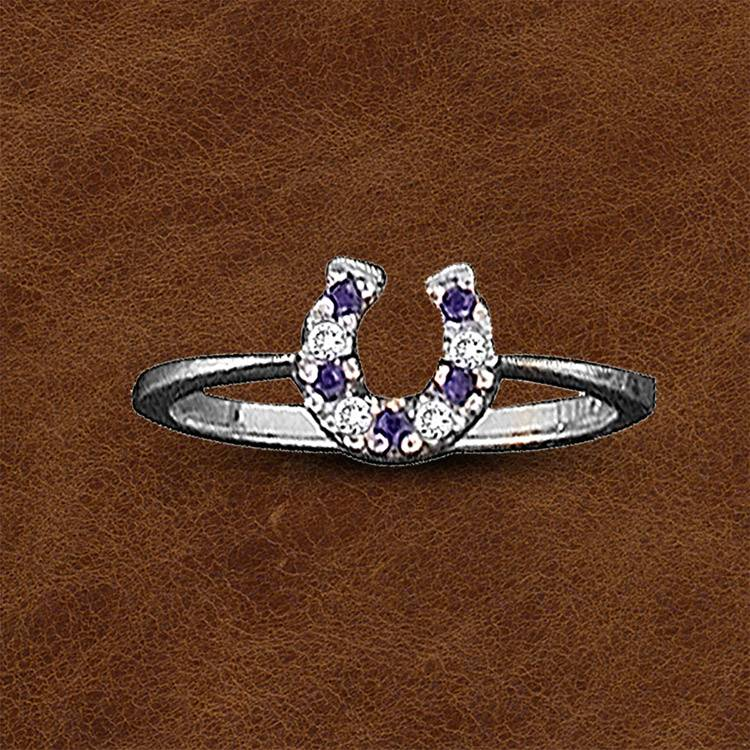 Kelly Herd Silver Horseshoe Ring - Ladies - Blue
