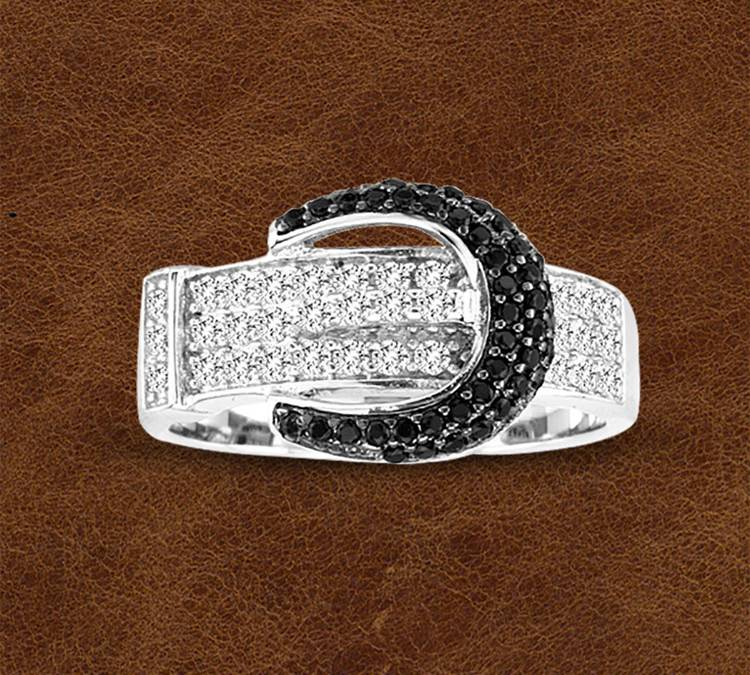 Kelly Herd Silver Pave Buckle Ring - Ladies