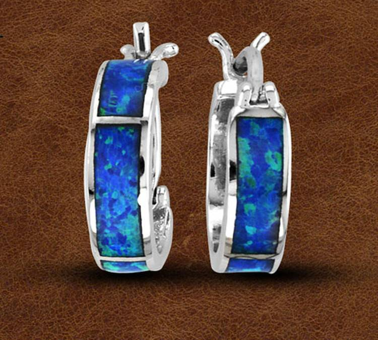 Kelly Herd Silver Opal Hoop Earrings - Ladies