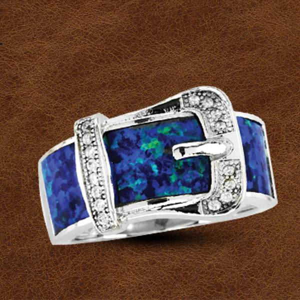 Kelly Herd Silver Opal Buckle Ring - Ladies
