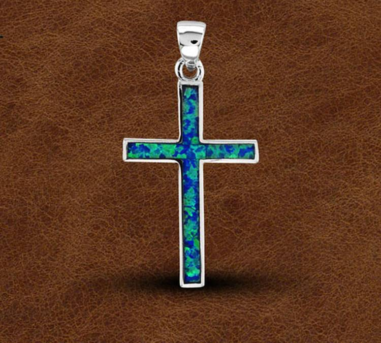 Kelly Herd Silver Opal Cross Pendant -Ladies