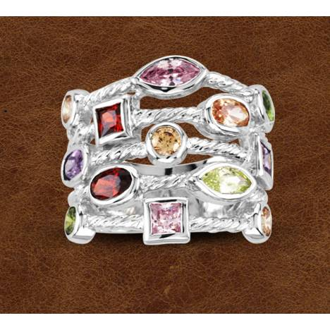 Kelly Herd Silver Multi Stone Contemporary Ring - Ladies