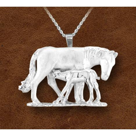 Kelly Herd Silver Nursing Mare And Foal Necklace - Ladies