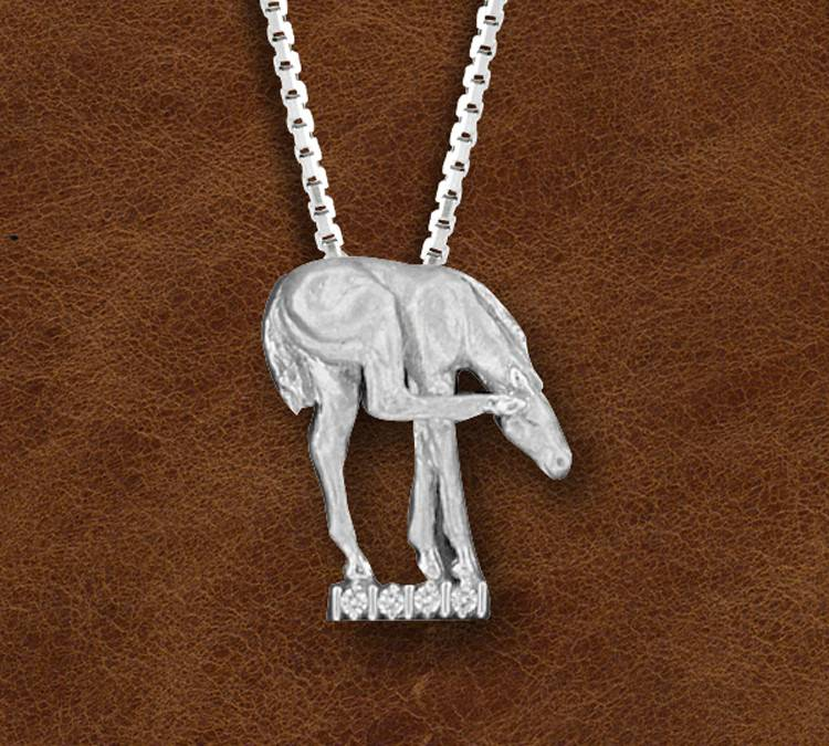 Kelly Herd Silver Horse Scratching Ear Pendant - Ladies
