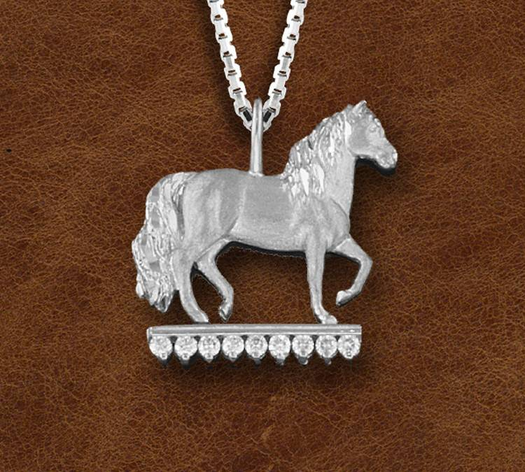 Kelly Herd Silver Paso Fino Pendant With Stones -Ladies