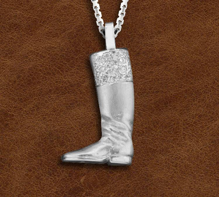 Kelly Herd Silver English Boot Necklace - Ladies
